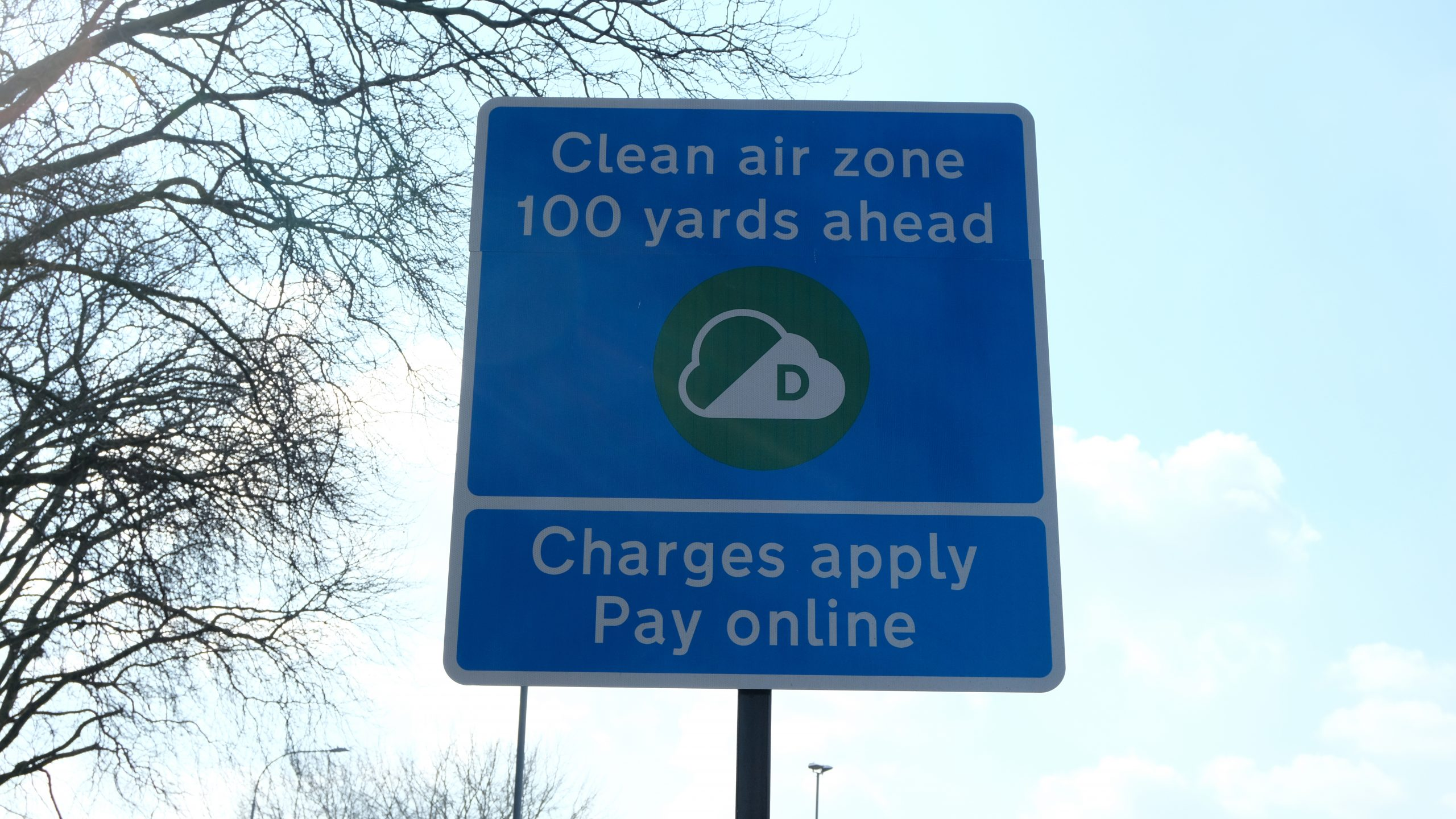 Clean air zone sign in London